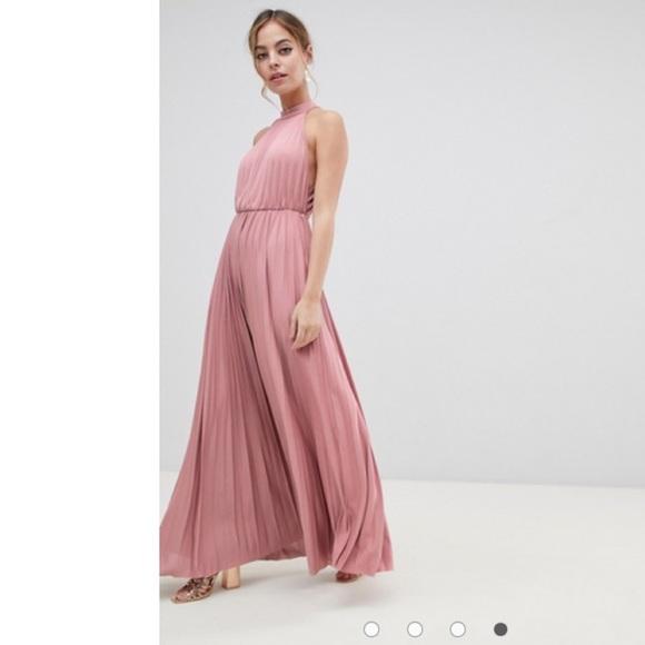 ASOS Petite Dresses & Skirts - ASOS Petite halter pleated maxi dress open back